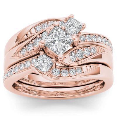 Womens 1 CT. T.W. Diamond 10K Rose Gold Bridal Set