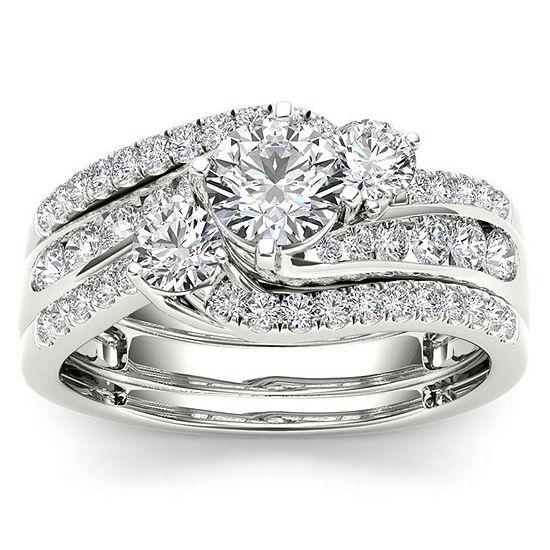 Womens 1 1/4 CT. T.W. Genuine White Diamond 14K Gold Bridal Set