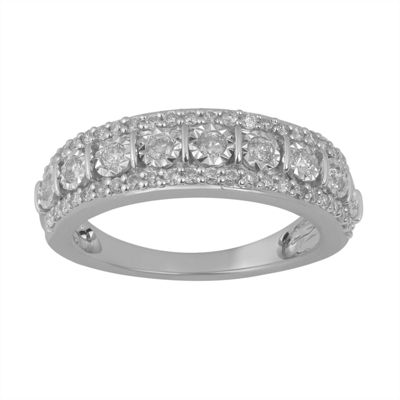 Womens 1/2 CT. T.W. Genuine Diamond Sterling Silver Round Band