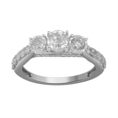 Womens 1 CT. T.W. Genuine Diamond 14K White Gold Round Engagement Ring