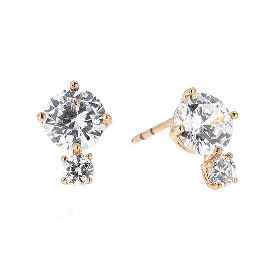 White Cubic Zirconia 14K Gold 10mm Stud Earrings