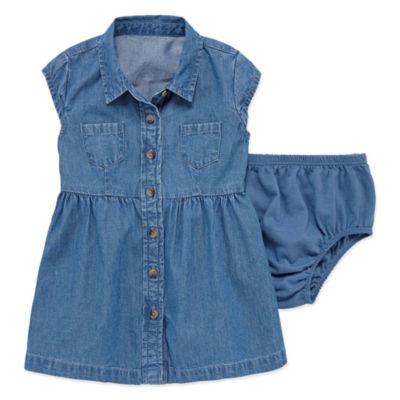 Arizona Short SleeveChambray Shirt Dress - Baby Girls