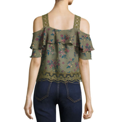 Self Esteem Short Sleeve Cold Shoulder Sleeve Floral Peasant Top Juniors