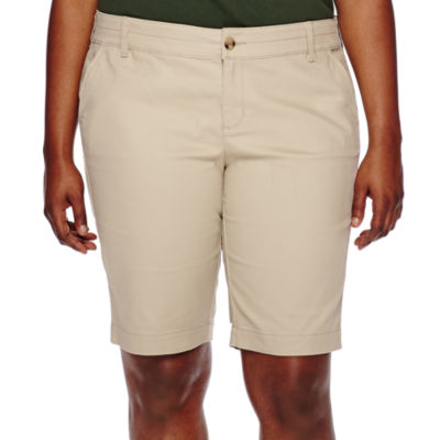 "Arizona 11"" Woven Bermuda Shorts-Juniors Plus"