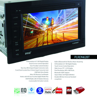 Pyle PLRDN62BT 6.5IN Double-DIN In-Dash Mechless AM/FM-MPX Receiver with Bluetooth