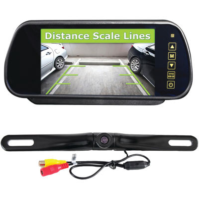 Pyle PLCM7400BT Bluetooth Backup Camera & Monitor System with 7IN Mirror-Mount Display Screen