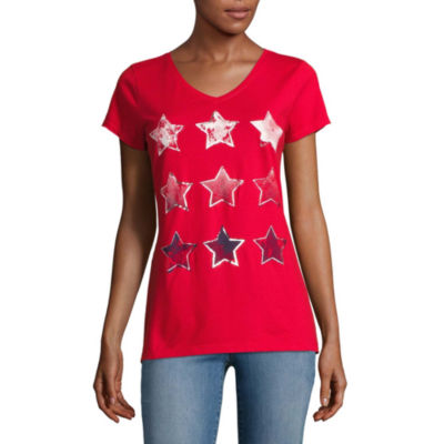 St. John's Bay Flag Short Sleeve V Neck Star T-Shirt-Womens