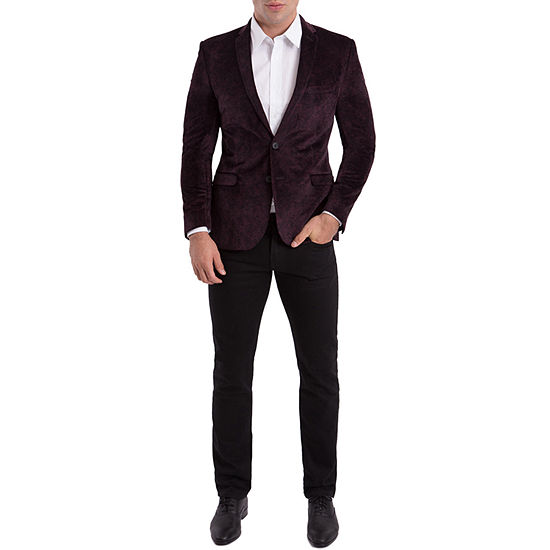 Nick Graham Burgundy Paisley Woven Sport Coat Slim Fit