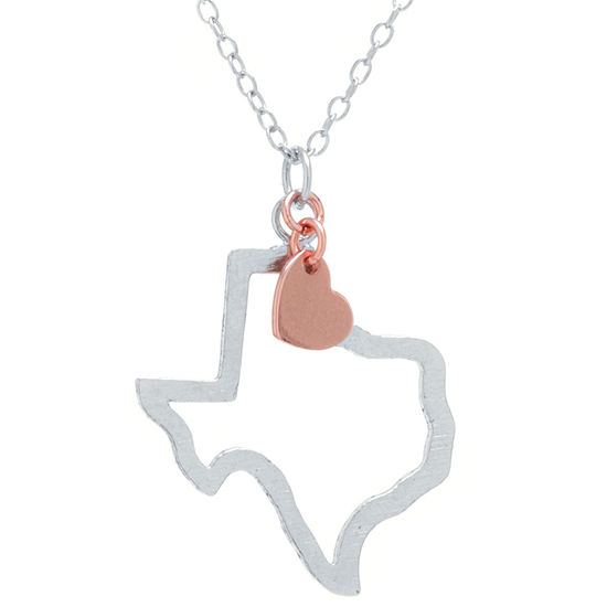 Silver Treasures Texas State Sterling Silver 16 Inch Cable Pendant Necklace