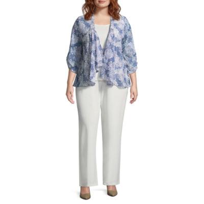Perceptions 3-pc. Floral Pant Set - Plus