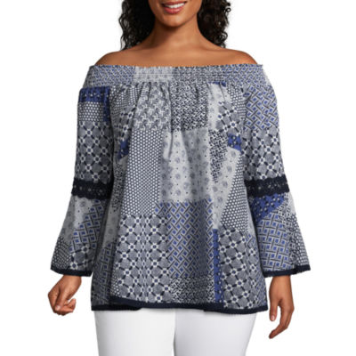 Off the Shoulder Blouse with Crochet - Plus