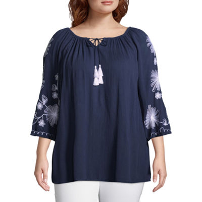 3/4 Bell Sleeve Embroidered Peasant Top - Plus