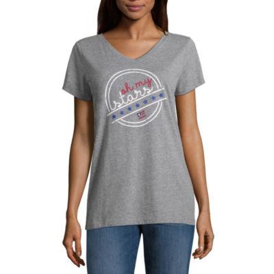 St. John's Bay Short Sleeve V Neck T-Shirt-Womens Tall