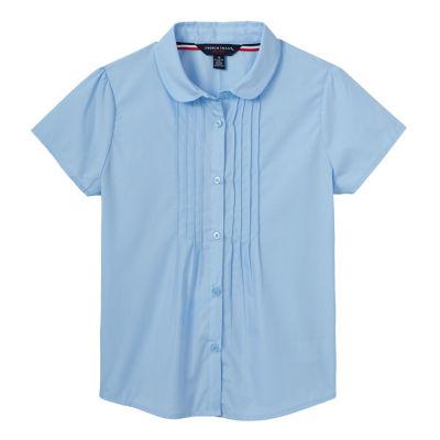 French Toast Pintucked Collar Neck Short Sleeve Cap Sleeve Blouse - Preschool Girls