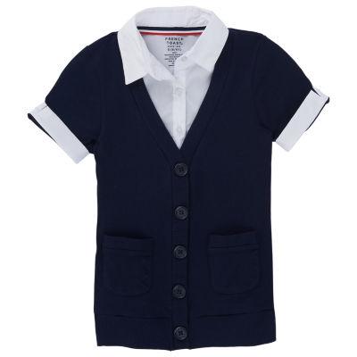 French Toast Short Sleeve Collar Neck Cardigan Girls
