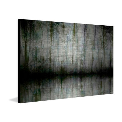 Wispy Trees Reflect Painting Print on Aluminum
