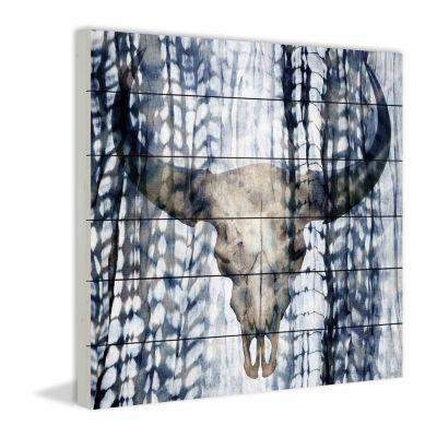 Blue Skull Painting Print on White Wood