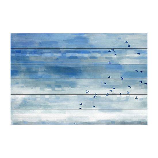 Blue Sky Birds Painting Print on White Wood