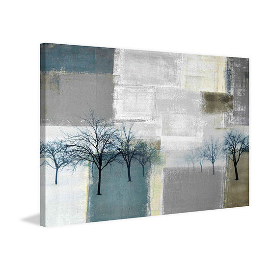 Blue Trees Painting Print On Wrapped Canvas