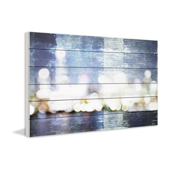 City Scape Painting Print on White Wood