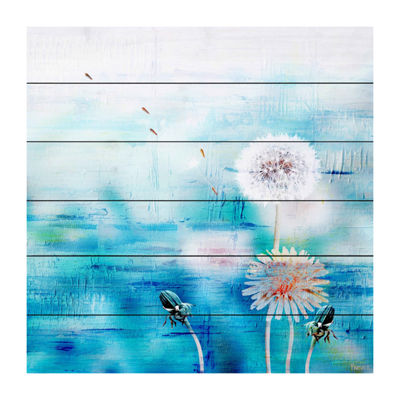 Dandy Puffs on Blue Painting Print on White Wood