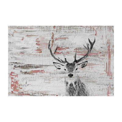 Deer Glare Painting Print on Wrapped Canvas