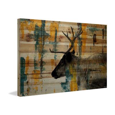 Teal Yellow Reindeer Painting Print on Natural Pine Wood