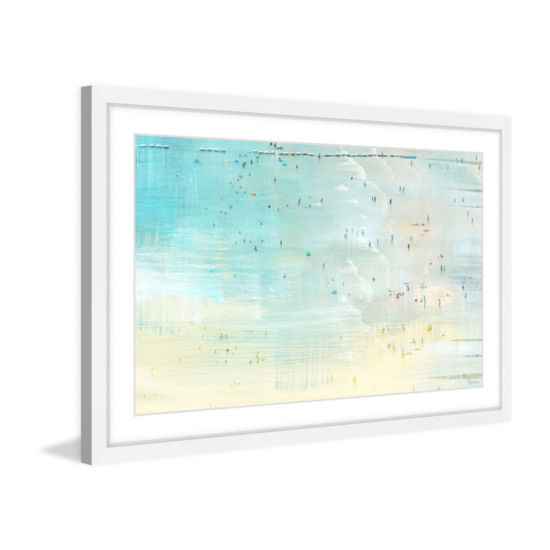 Distant Beachgoers Framed Painting Print