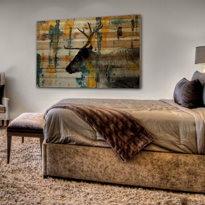 Teal Yellow Reindeer Painting Print on Natural Pine Wood