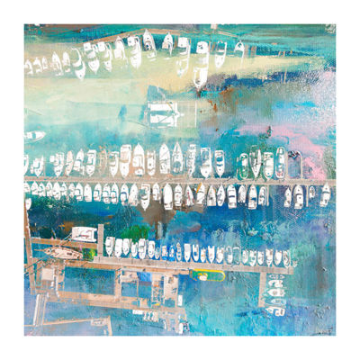 Docked White Boats Painting Print on Wrapped Canvas