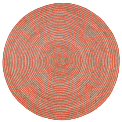 St. Croix Trading Natural Jute Cotton Racetrack Oval Oval Rugs