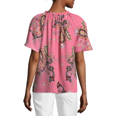 Liz Claiborne Short Sleeve Paisley Peasant Top