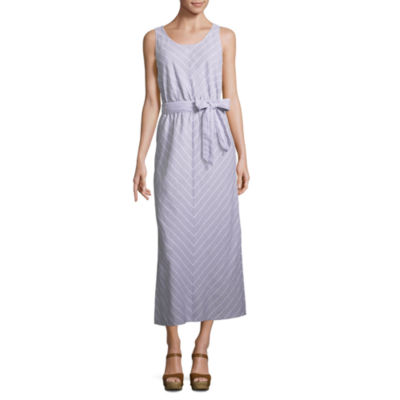 Liz Claiborne Sleeveless Chevron Linen Maxi Dress