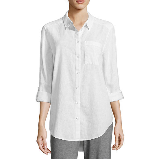 Liz Claiborne Studio Long Sleeve Button Front Tunic