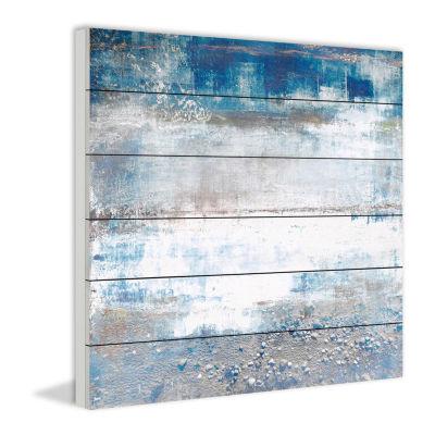 White Splash Painting Print on White Wood