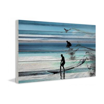 Wave Jumping Painting Print on White Wood