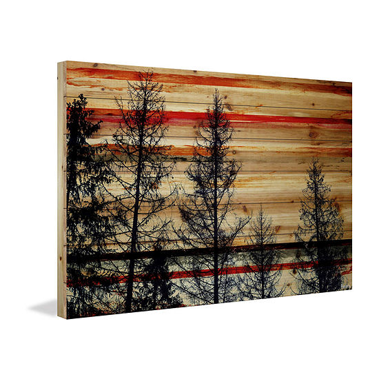 Trees Against Red Sky Painting Print on Natural Pine Wood