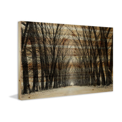 Tree Path Painting Print on Natural Pine Wood