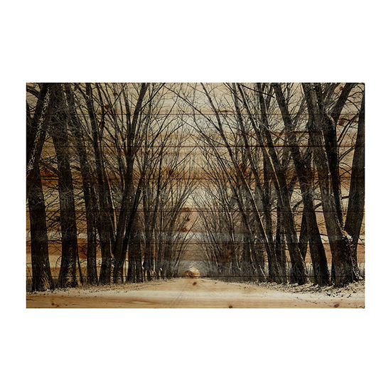 Tree Path Painting Print on Natural Pine Wood