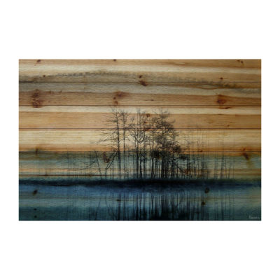 Tree Isle Reflects Painting Print on Natural Pine Wood