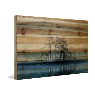 Tree Isle Reflects Painting Print on Natural PineWood