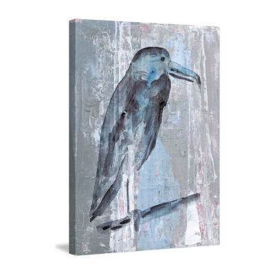 Blue-Grey Bird Painting Print on Wrapped Canvas