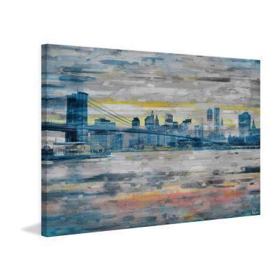 Bridge Skyline Painting Print on Wrapped Canvas