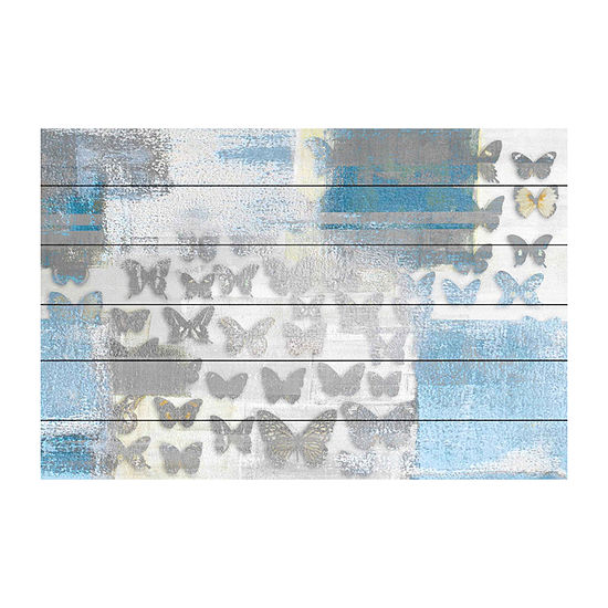Butterfly Frenzy Painting Print on White Wood