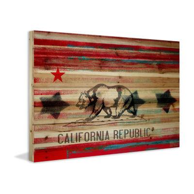Cal Repub Painting Print on Natural Pine Wood