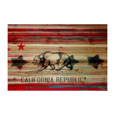Cal Repub Painting Print on Natural Pine Wood
