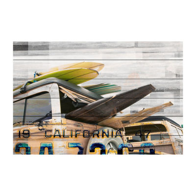 Cali Day Painting Print on White Wood