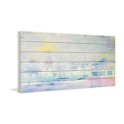 Hazy Sunset Painting Print on White Wood