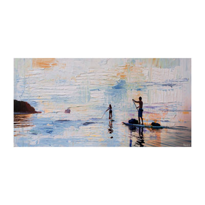 Dusk Paddling Painting Print on Wrapped Canvas