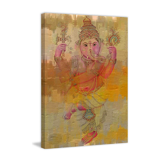 Elephant Dance Painting Print on Wrapped Canvas